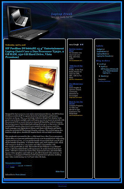 laptop-blogger-template