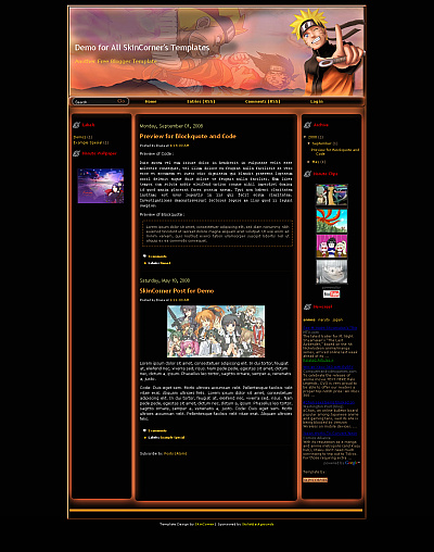 The Free Blogskin NarutoFight - Free Blog Skin Downloads - the Top 10 Best Free Blog skins (Themes)!